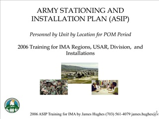 ARMY STATIONING AND INSTALLATION PLAN ASIP  Personnel by Unit by Location for POM Period  2006 Training for IMA Regions,