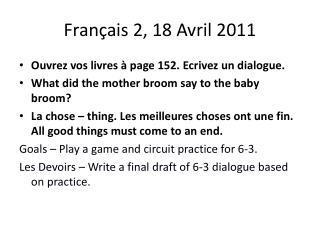 Français  2, 18  Avril  2011
