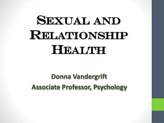 Sexual and Relationship Health