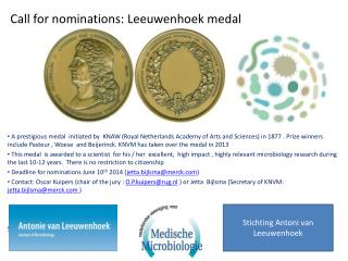 Call for nominations: Leeuwenhoek medal