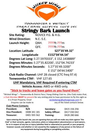 Stringy  Bark Launch