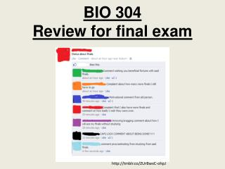 BIO 304  Review for final exam