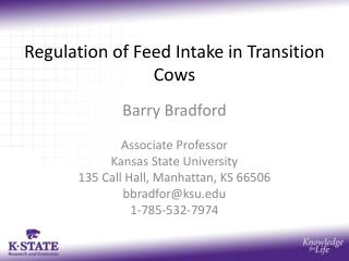Regulation of Feed Intake in Transition Cows