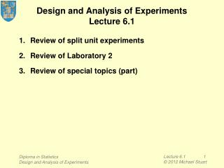 Design and Analysis of Experiments Lecture 6.1