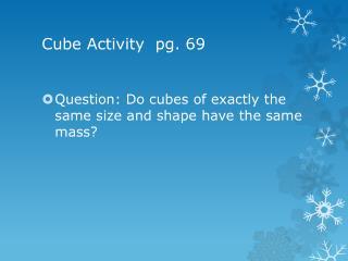 Cube Activity pg. 6 9