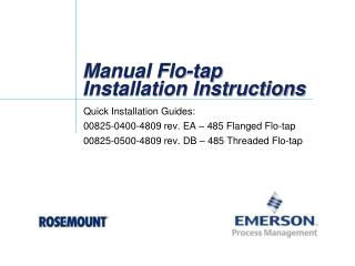 Manual Flo-tap Installation Instructions