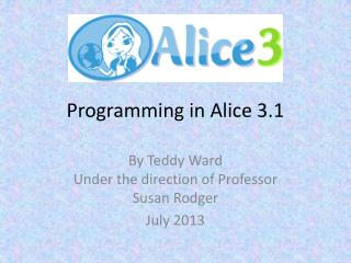 Programming in Alice 3.1