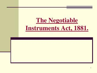 The Negotiable Instruments Act, 1881.