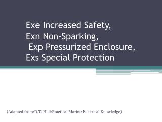 Exe Increased Safety,  Exn Non-Sparking,  Exp Pressurized Enclosure,  Exs Special Protection