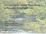 Accounting for Spatial Dependence  in Bayesian Belief Networks