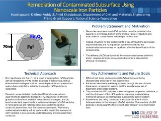 Remediation of Contaminated Subsurface Using  Nanoscale  Iron Particles