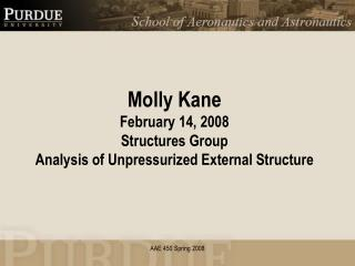 Molly Kane February 14, 2008 Structures Group Analysis of Unpressurized External Structure