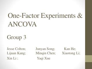One-Factor Experiments & ANCOVA