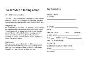 Kaiser Stud's Riding Camp