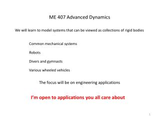 ME 407 Advanced Dynamics
