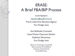 ERASE:  A Brief FBA/BIP Process