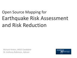 Open Source Mapping for  Earthquake Risk Assessment and Risk Reduction