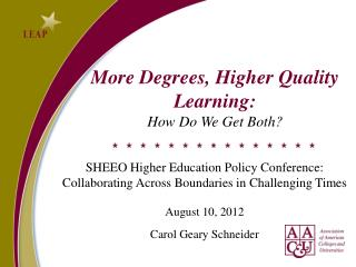 More Degrees, Higher Quality Learning:  How Do We Get Both?