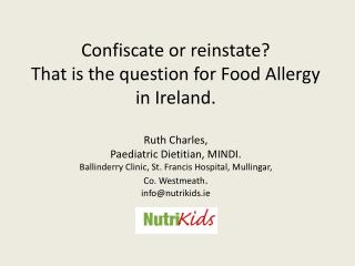 Irish Food Allergy Network October 2009.