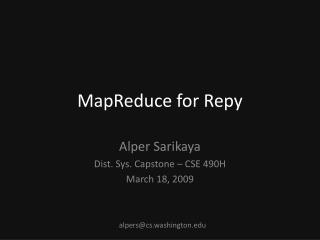 MapReduce  for  Repy