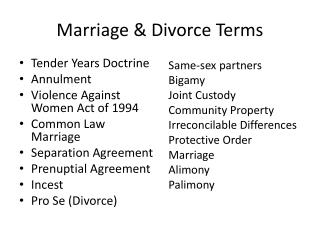 Marriage & Divorce Terms