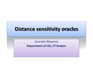 Distance sensitivity oracles
