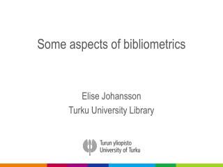 Some aspects of  bibliometrics