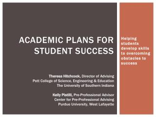 Academic Plans for Student Success