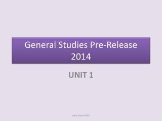 General Studies Pre-Release 2014