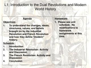 L1: Introduction to the Dual Revolutions and Modern World History