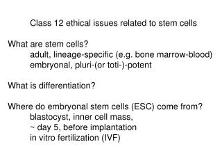 Class 12 ethical issues related to stem cells What are stem cells?