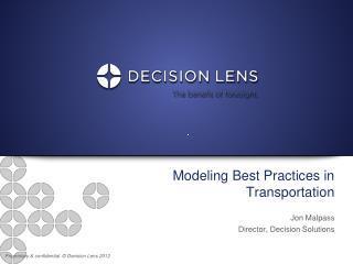 Modeling Best Practices in Transportation