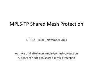 MPLS-TP Shared Mesh Protection