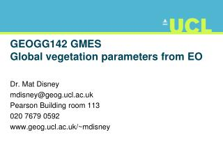 GEOGG142 GMES Global vegetation parameters from EO