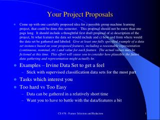Your Project Proposals