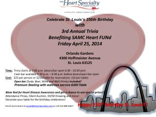 Celebrate St. Louis's 250th Birthday with 3rd Annual Trivia  Benefiting SAMC Heart FUNd