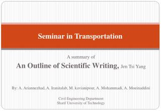 Seminar in Transportation