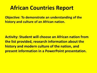 African Countries Report