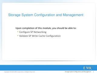 Storage System Configuration and Management