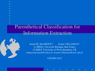 Parenthetical Classification for Information Extraction