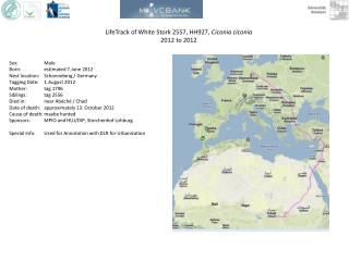 LifeTrack  of White Stork  2557,  HH927 ,  Ciconia ciconia 2012 to 2012