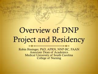 Overview of DNP Project and Residency