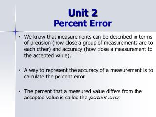 Unit 2 Percent Error