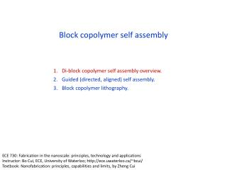 Block copolymer self assembly
