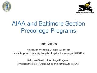 AIAA and Baltimore Section Precollege Programs