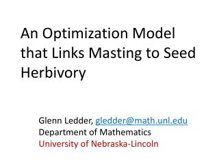 An Optimization Model that Links  Masting  to  Seed  Herbivory