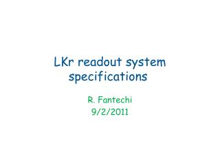 LKr readout  system  specifications