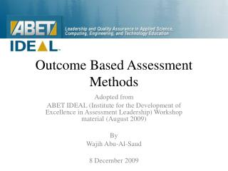 Outcome Based Assessment Methods