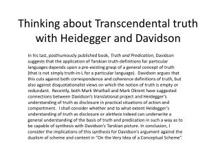 Thinking about Transcendental truth with Heidegger and Davidson