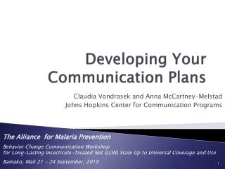 Developing Your Communication Plans